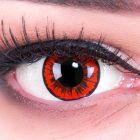 Das Produktfoto zeigt unsere Crazy rote Farbige Kontaktlinse Engel in einem echten Auge