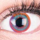 Das Produktfoto zeigt unsere Farbige Pinke Kontaktlinse Paradise Pink in einem echten Auge