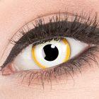 Das Produktfoto zeigt unsere Crazy gelbe Farbige Kontaktlinse Alien in einem echten Auge