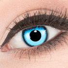 Das Produktfoto zeigt unsere Crazy blaue Farbige Kontaktlinse Blue Lunatic in einem echten Auge