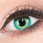 Das Produktfoto zeigt unsere Crazy blaue Farbige Kontaktlinse Green Elf in einem echten Auge