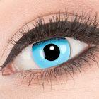 Das Produktfoto zeigt unsere Crazy blaue Farbige Kontaktlinse Sky Angel in einem echten Auge