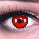Das Produktfoto zeigt unsere Crazy rote Farbige Kontaktlinse Metatron in einem echten Auge