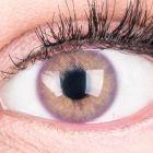 Das Produktfoto zeigt unsere Farbige Violette Kontaktlinse Jasmin Violet in einem echten Auge