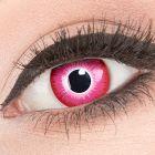Das Produktfoto zeigt unsere Crazy rote Farbige Kontaktlinse Emine in einem echten Auge