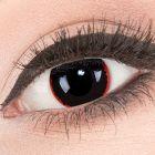 Das Produktfoto zeigt unsere Crazy schwarze Farbige Kontaktlinse Exorcism in einem echten Auge