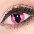 Das Produktfoto zeigt unsere Crazy pinke Farbige Kontaktlinse Pink Cat in einem echten Auge
