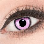 Das Produktfoto zeigt unsere Crazy pinke Farbige Kontaktlinse Pink Lunatic in einem echten Auge
