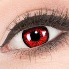 Das Produktfoto zeigt unsere Crazy rote Farbige Kontaktlinse Red Demon in einem echten Auge