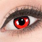 Das Produktfoto zeigt unsere Crazy rote Farbige Kontaktlinse Red Lunatic in einem echten Auge