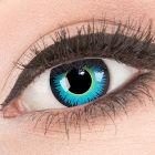 Das Produktfoto zeigt unsere Crazy blaue Farbige Kontaktlinse Seraphin in einem echten Auge