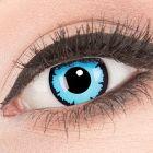 Das Produktfoto zeigt unsere Crazy blaue Farbige Kontaktlinse Sky Demon in einem echten Auge