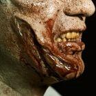 """Das Bild zeigt die Halloween Wunden """"Fleischwunde"""" Applikation fertig geschminkt von der Seite"""