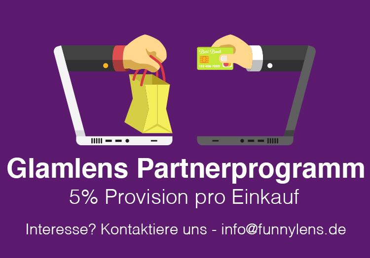 Glamlens bzw. Funnylens Partnerprogramm, verdiene bis zu 5% Provision pro Einkauf