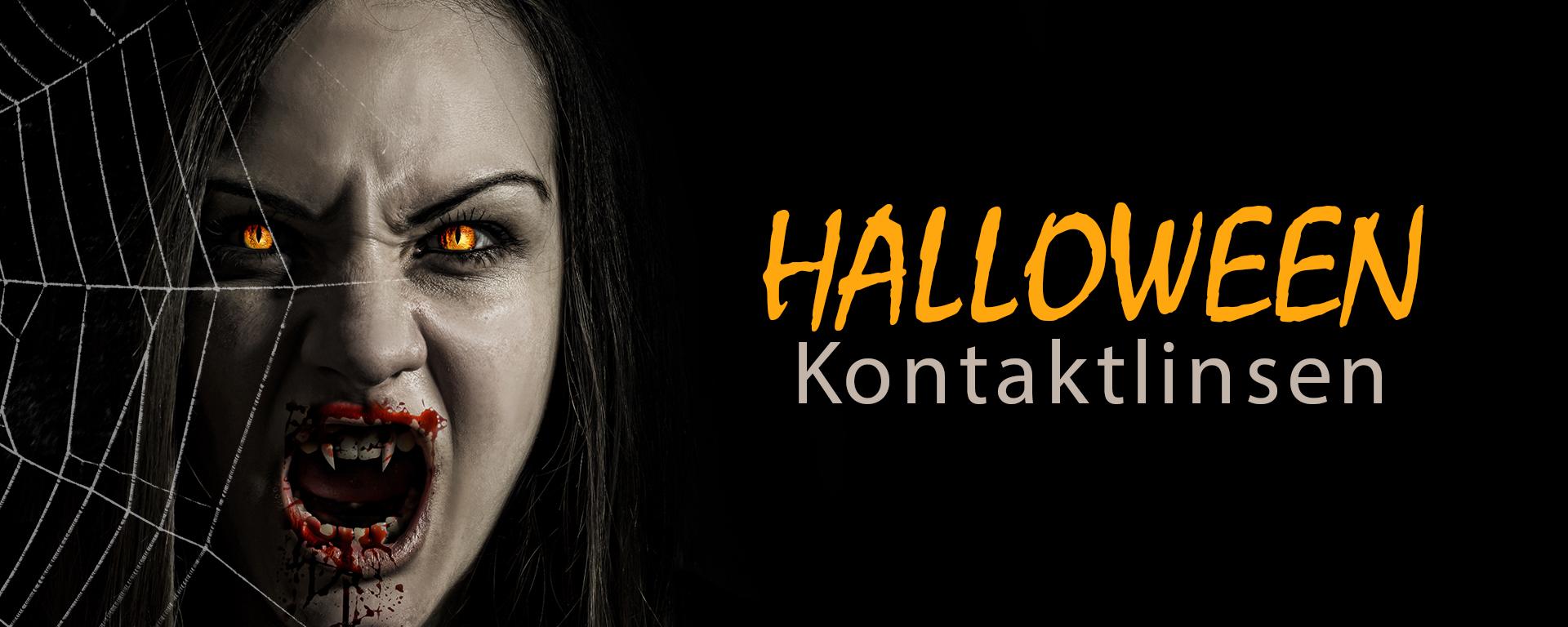 Das Foto zeigt einen Banner für Halloween mit einer Dämonin und der Aufschrift Halloween Kontaktlinsen